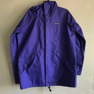 Mens PATAGONIA Blue Vintage Trench Rain Jacket Med